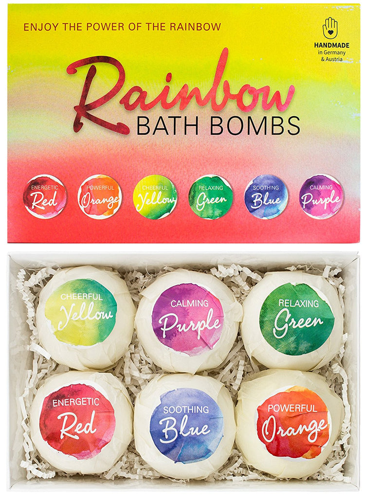 "BRUBAKER 6 Handmade ""Rainbow"" Bath Bombs Gift Set - All Natural, Vegan, Organic Ingredients - Sesame Oil Moisturizes Dry Skin"
