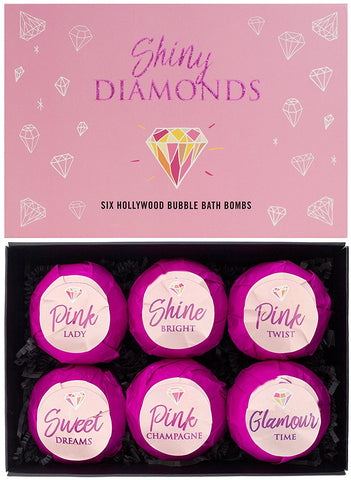 "BRUBAKER 6 Handmade ""Shiny Diamonds"" Bath Bombs Gift Set - All Natural, Vegan, Organic Ingredients - Aloe Vera Moisturizes Dry Skin"