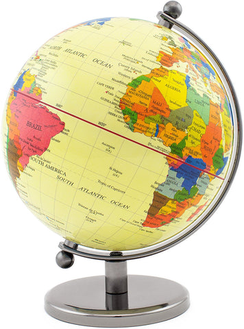 BRUBAKER Political World Globe - Office Decoration - 7.5 Inches tall - Yellow