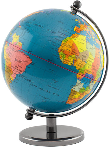 BRUBAKER Political World Globe - Office Decoration - 7.5 Inches tall - Dark Blue