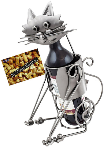 "BRUBAKER Wine Bottle Holder ""Cat"" - Metal Sculpture - Wine Rack Decor - Tabletop - With Greeting Card"