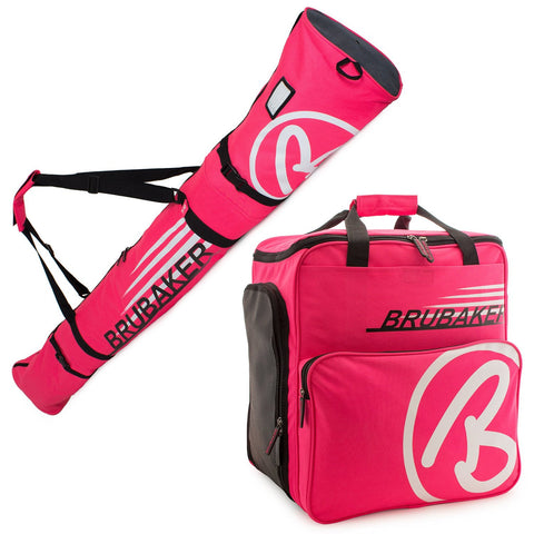 BRUBAKER Ski Bag Combo for Ski, Poles, Boots and Helmet - Limited Edition - Dark Pink / White