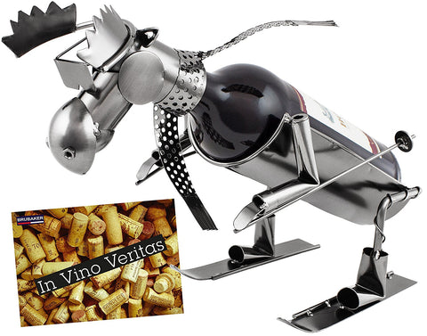 "BRUBAKER Wine Bottle Holder ""Skiing Moose"" - Metal Sculpture - Wine Rack Decor - Tabletop - With Greeting Card"