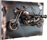 BRUBAKER Wine Bottle Holder 'Motorbike' - Wall Mountable with 3 Glass Holders