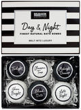 "BRUBAKER 6 Handmade ""Day & Night"" Bath Bombs Gift Set - All Natural, Vegan, Organic Ingredients - Almond Oil Moisturizes Dry Skin"