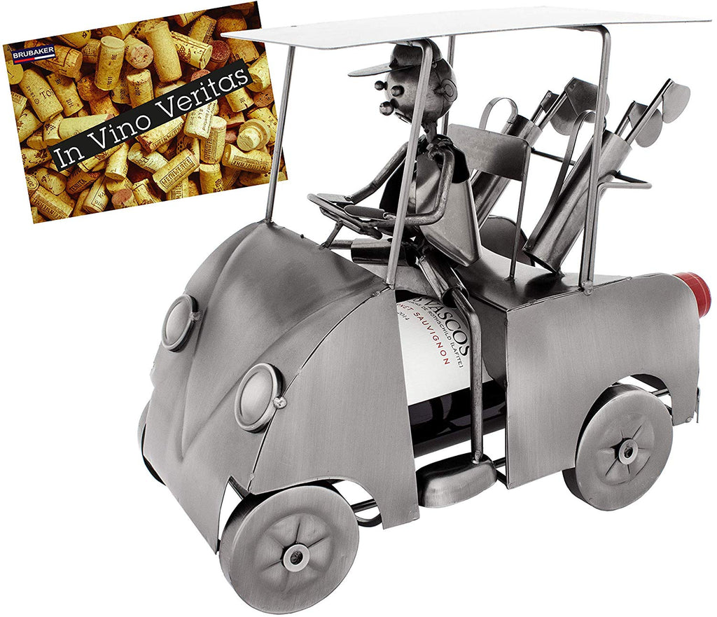 BRUBAKER Wine Bottle Holder 'Golfer in Golf Cart' - Table Top Metal Sculpture - with Greeting Card