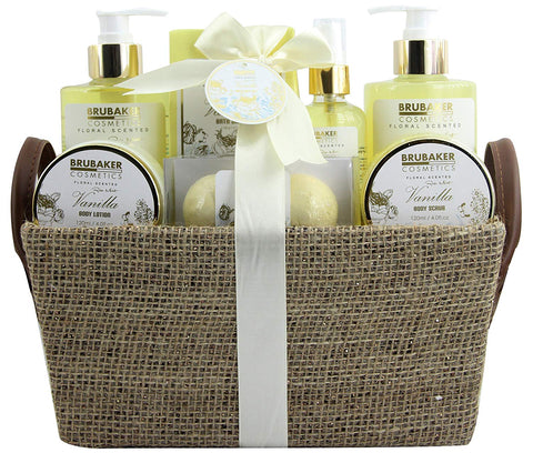 BRUBAKER Cosmetics 'Vanilla Rose Mint' 9-Pieces Bath Gift Set in Trug Crate 15QA01