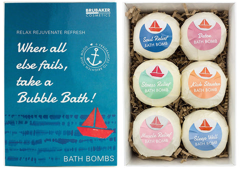 "BRUBAKER 6 Handmade ""When all else fails, take a Bubble Bath"" Bath Bombs Gift Set - All Natural Vegan, Organic Ingredients - Avocado & Sesame Oil"