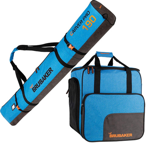 BRUBAKER Combo Set Carver Performance - Ski Bag and Ski Boot Bag for 1 Pair of Skis + Poles + Boots + Helmet - Blue Black