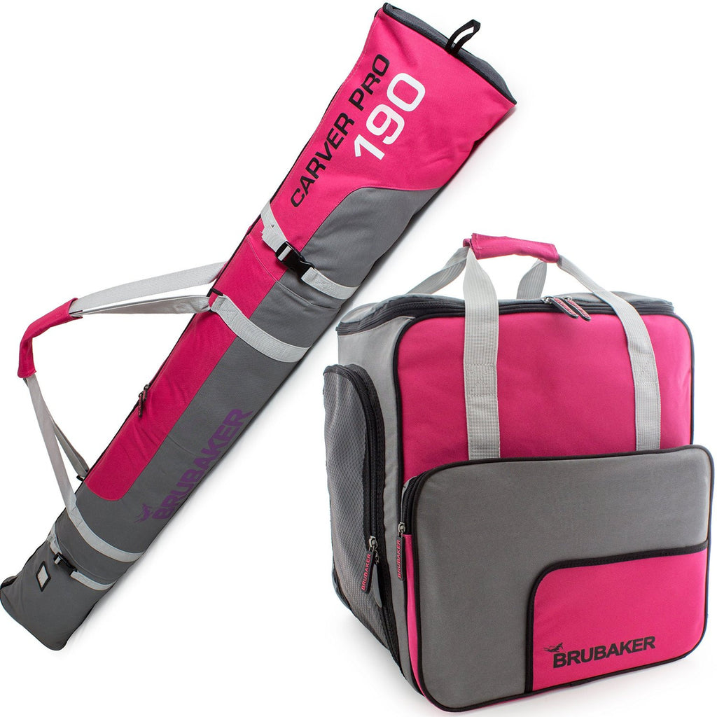 BRUBAKER Ski Bag Combo for Ski, Poles, Boots and Helmet - Limited Edition - Dark Pink / Grey