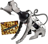 "BRUBAKER Wine Bottle Holder ""Dog"" - Metal Sculpture - Wine Rack Decor - Tabletop - With Greeting Card"