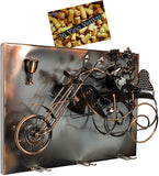 BRUBAKER Wine Bottle Holder 'Couple on Motorbike' - Wall Mountable