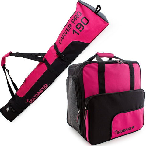 BRUBAKER Ski Bag Combo for Ski, Poles, Boots and Helmet - Limited Edition - Dark Pink / Black
