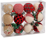 BRUBAKER 12-Piece Natural Jute Christmas Ornaments - Baubles Ball Ornaments - Red & Green - 3.2 Inches