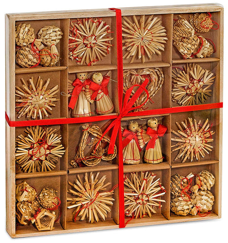 BRUBAKER 48-Piece Set Straw Tree Ornaments - Up to 2.6 Inches - Stars, Hearts, Angels & More