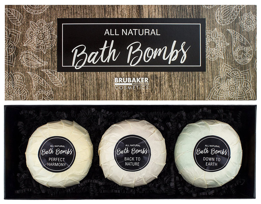 "BRUBAKER 3 Big Handmade ""All Natural"" Bath Bombs Gift Set - All Natural, Vegan, Organic Ingredients - Macadamia Nut Oil Moisturizes Dry Skin"