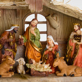 BRUBAKER Christmas Nativity Set - Stable with 11 Resin Figurines
