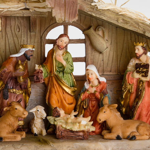 brubaker christmas nativity set stable with 11 resin figurines. Black Bedroom Furniture Sets. Home Design Ideas