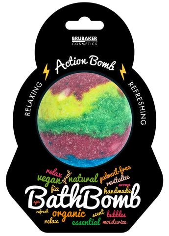 "BRUBAKER Huge Handmade Fizzing Bath Bomb ""Action"" - Bath Fizzer - All Natural, Vegan, Organic Ingredients"