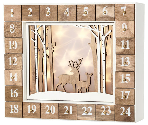 BRUBAKER Advent Calendar - Wooden Forest - White Nature Scene with LED Lighting - 14 x 2.4 x 10.6 inches