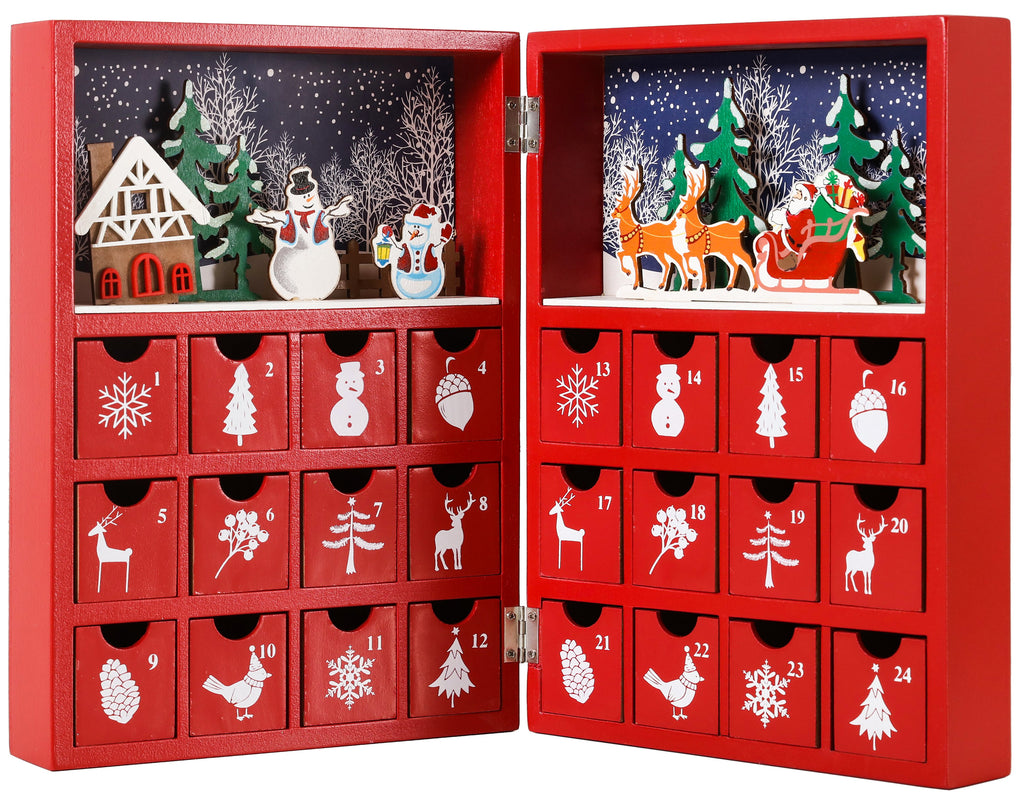 Brubaker Advent Calendar Wooden Christmas Book With 24 Drawers Red