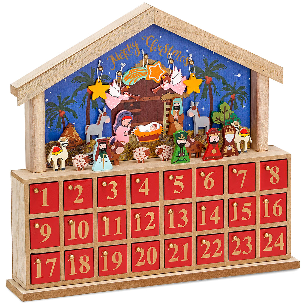 BRUBAKER Advent Calendar - Wooden House - Blue/Red - 13.5 x 12.6 x 2.4 inches