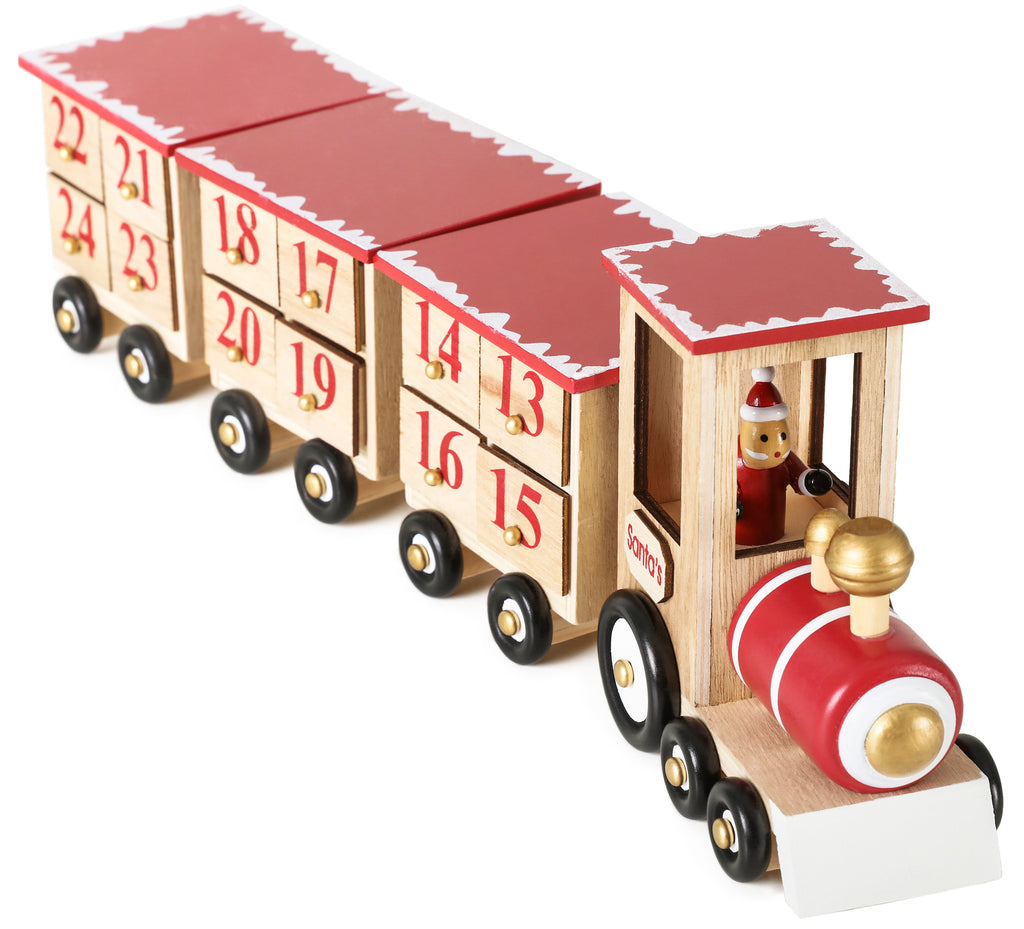BRUBAKER Advent Calendar Wooden Christmas Train - Red/Green - Natural Colors - 18.7 x 3.7 x 5.5 inches