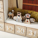 BRUBAKER Advent Calendar - Wooden House - with LED lighting - White/Gold/Beige - 12.4 x 15 x 2.5 inches
