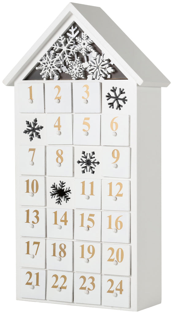 BRUBAKER Advent Calendar - Wooden House - White with LED Lighting 9.5 x 17.7 x 3.1 inches