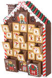 BRUBAKER Advent Calendar - Wooden Gingerbread with 4 LED Lights - 10.3 x 17.7 x 2.1 inches