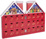 BRUBAKER Reusable Wooden Advent Calendar to Fill - Red Christmas House with Nativity Play and LED Lighting - DIY Christmas Calendar 8.27 x 3.54 x 11.81 inches