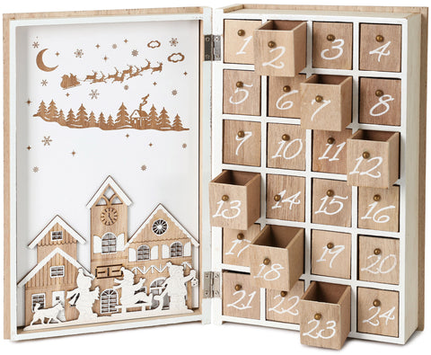 BRUBAKER Advent Calendar Wooden Christmas Book with 24 Drawers - White/Brown - 7.7 x 3 x 11.8 Inches