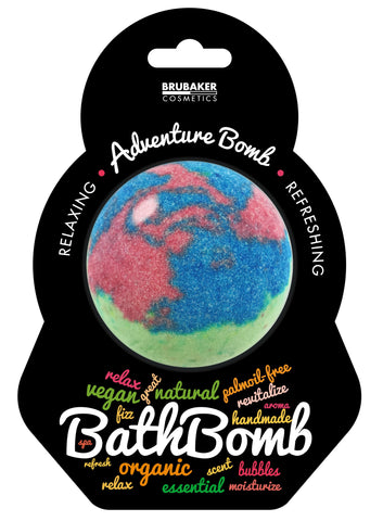 "BRUBAKER Huge Handmade Fizzing Bath Bomb ""Adventure"" - Bath Fizzer - All Natural, Vegan, Organic Ingredients"