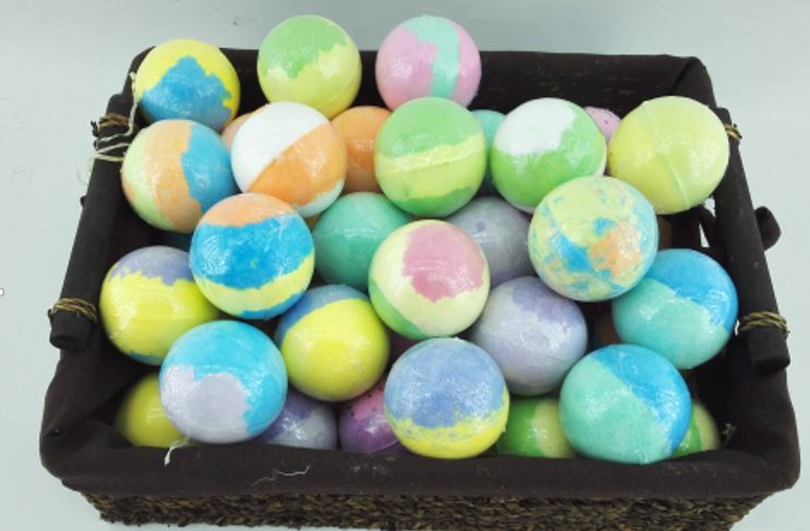"BRUBAKER Mixed Colors 80g Bath Fizzer "" Round"" Clear Wrapped"