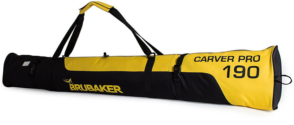 "BRUBAKER Padded Ski Bag ""Carver Pro"" - Limited Edition - Strong 2-Way Zip and Compression Straps - Black/Yellow"
