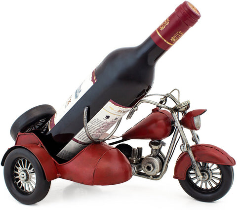 "BRUBAKER Wine Bottle Holder ""Vintage Motorcycle with Sidecar"" Hand-Painted Metal"