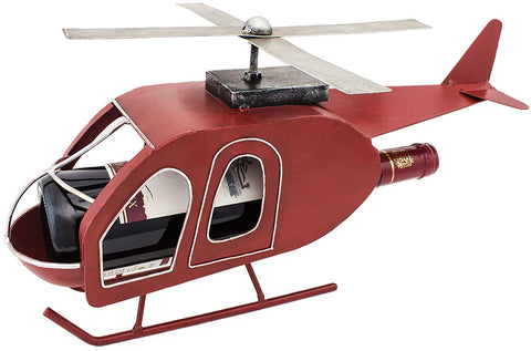 "BRUBAKER Wine Bottle Holder ""Retro Helicopter"" Metal Sculpture 99102"