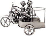 "BRUBAKER Wine Bottle Holder ""Motorcycle Couple with Dog in Sidecar"" Metal Sculpture 99112"