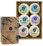"BRUBAKER 6 Handmade ""Relax & Unwind"" Bath Bombs Gift Set - All Natural, Vegan, Organic Ingredients - Macadamia Nut Oil Moisturizes Dry Skin"