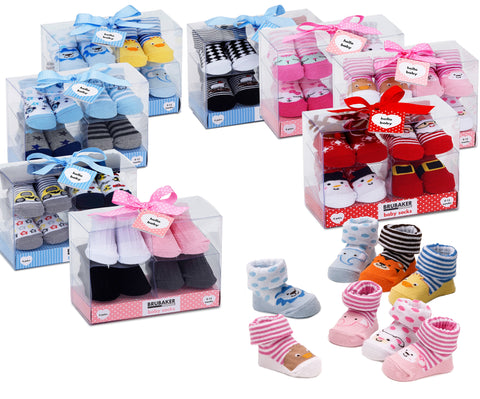 BRUBAKER 4 Pairs of Baby Socks - 0-12 Months - Multiple Designs
