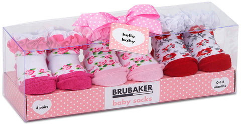 BRUBAKER 3 Pairs of Baby Socks - 0-12 Months - Multiple Designs