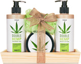 BRUBAKER Hemp Oil Body Care and Shower Set with Wooden Tray