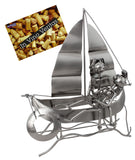 BRUBAKER Wine Bottle Holder 'Boat' - Table Top Metal Sculpture