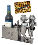 BRUBAKER Wine Bottle Holder 'Couple in Bar' - Table Top Metal Sculpture