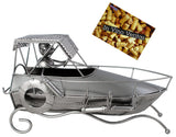 BRUBAKER Wine Bottle Holder 'Motor Boat' - Table Top Metal Sculpture - with Greeting Card
