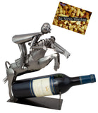BRUBAKER Wine Bottle Holder 'Horse Riding' - Table Top Metal Sculpture