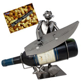 BRUBAKER Wine Bottle Holder 'Surfer' - Table Top Metal Sculpture