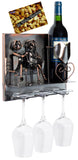 BRUBAKER Wine Bottle Holder Couple on Bench - Wall Mountable - 3 Glass Holders