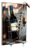 BRUBAKER Wine Bottle Holder 'Saxophone' - Wall Mountable with 2 Glass Holders