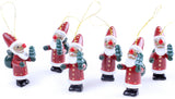 BRUBAKER 6-Pcs Santa Claus Pendant - Christmas Tree Hanging Ornaments Set - Wooden Christmas Tree Decorations - Hand Painted